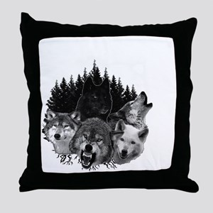 Wolves Night Moon Throw Pillow