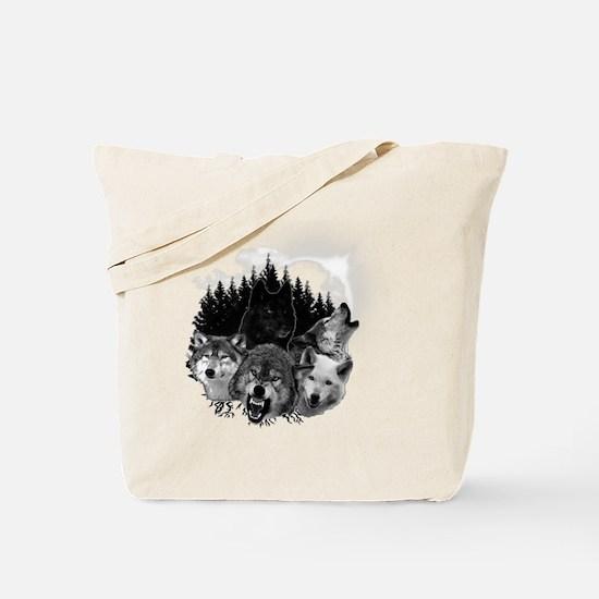Wolves Night Moon Tote Bag