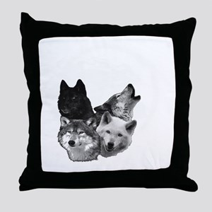 Wolves Moon 3 Throw Pillow