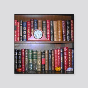 "Readers Bookshelf Square Sticker 3"" x 3"""