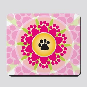 Paw Prints Flower Mousepad