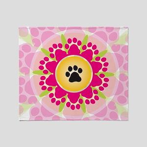 Paw Prints Flower Throw Blanket