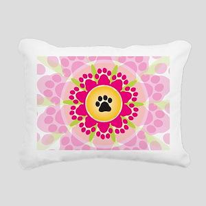 Paw Prints Flower Rectangular Canvas Pillow