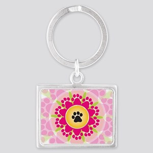 Paw Prints Flower Landscape Keychain