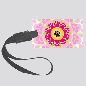 Paw Prints Flower Large Luggage Tag