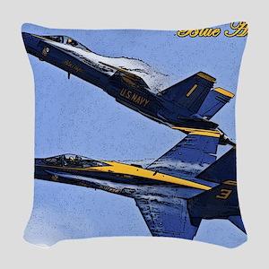 CP.Blues_142.16x20.posterize2 Woven Throw Pillow