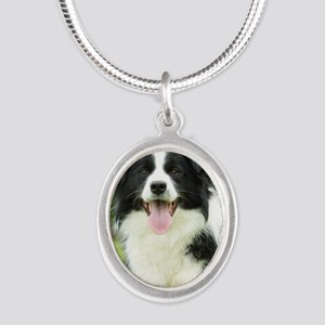 Border Collie 9A014D-14 Silver Oval Necklace