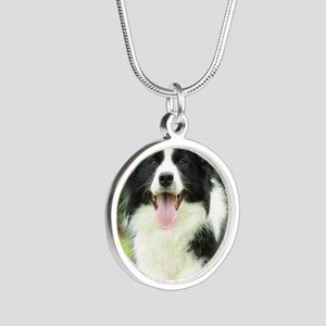 Border Collie 9A014D-14 Silver Round Necklace