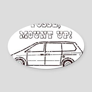 mountupbrowndistressed Oval Car Magnet