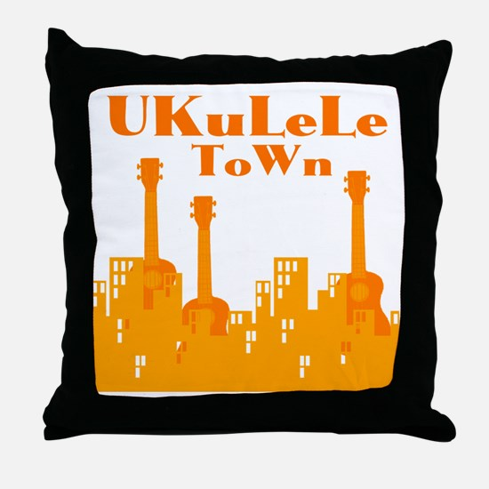 Ukulele Town Orange Throw Pillow
