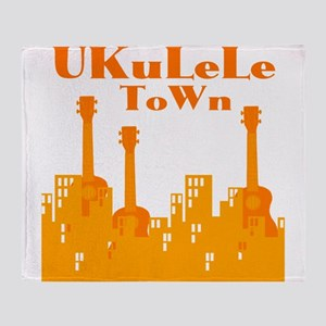 Ukulele Town Orange Throw Blanket