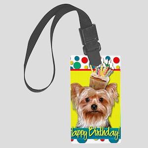 BirthdayCupcakeYorkie Large Luggage Tag