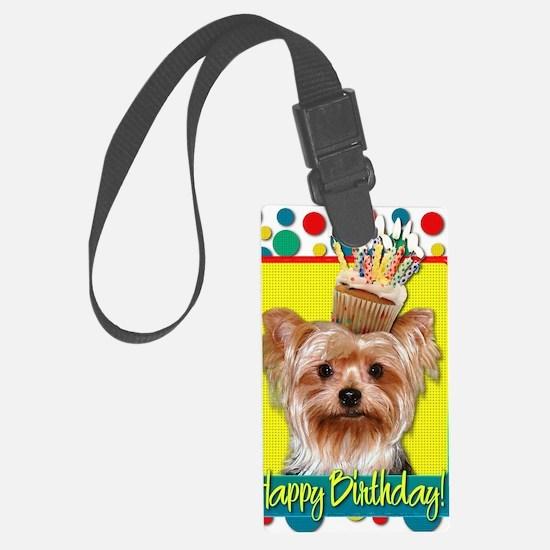 BirthdayCupcakeYorkie Luggage Tag