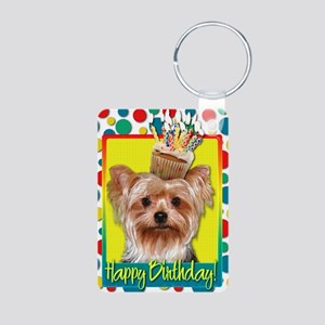 BirthdayCupcakeYorkie Aluminum Photo Keychain