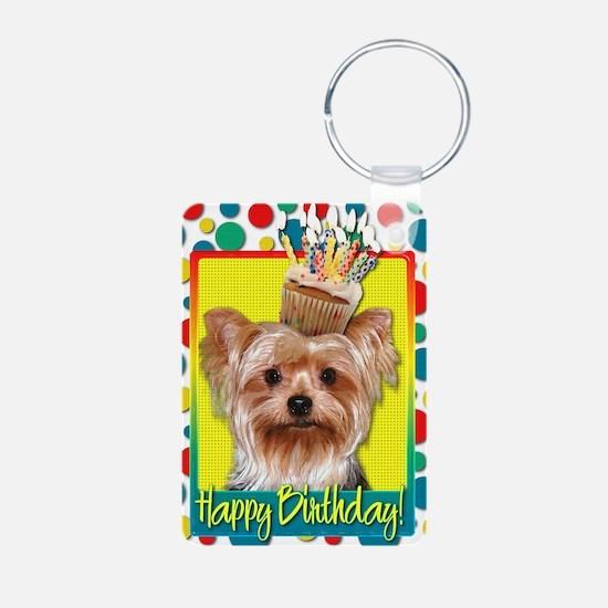 BirthdayCupcakeYorkie Keychains