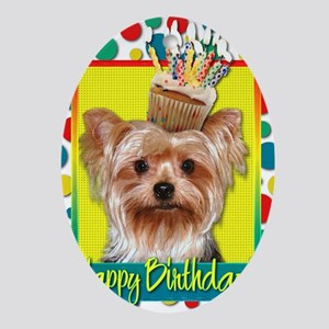 BirthdayCupcakeYorkie Oval Ornament