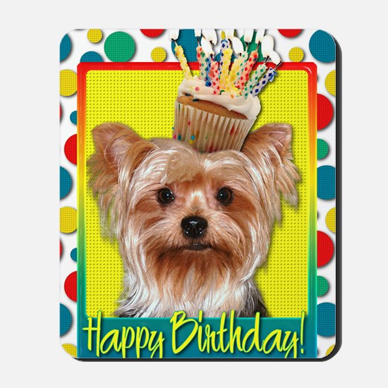 BirthdayCupcakeYorkie Mousepad