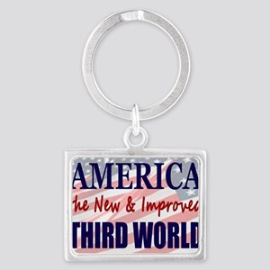 America 3rd World Flags 35 Landscape Keychain