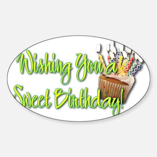 BirthdayCupcakeInside Sticker (Oval)