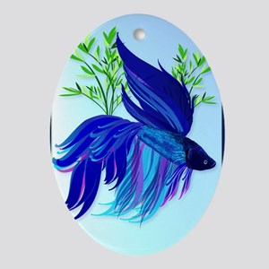 ipod Touch Big Blue Siamese Fighting Oval Ornament