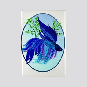 Big Blue Siamese Fighting Fish Ov Rectangle Magnet