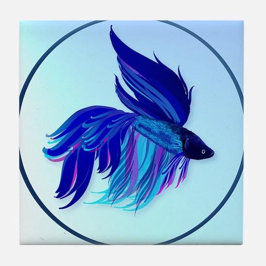 Big Blue Siamese Fighting Fish Oval-c Tile Coaster