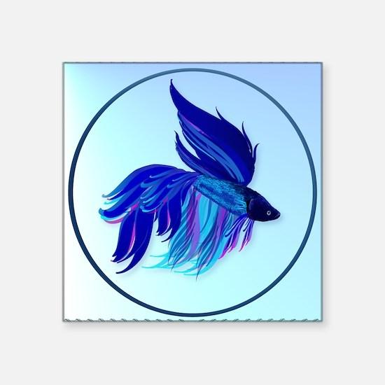 "Big Blue Siamese Fighting F Square Sticker 3"" x 3"""