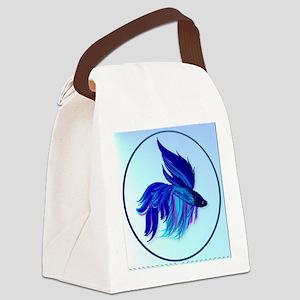 Big Blue Siamese Fighting Fish Ov Canvas Lunch Bag