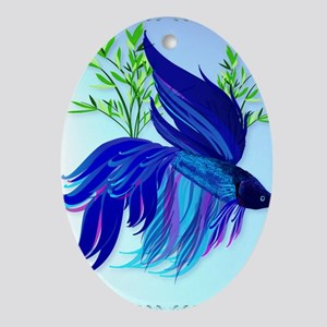 Big Blue Simaese Fighting Fish Poste Oval Ornament
