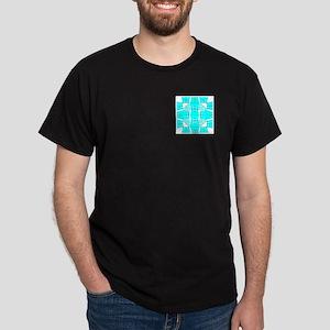 Cyan Owls Design Dark T-Shirt