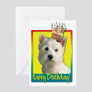 BirthdayCupcakeWestieHB Greeting Card