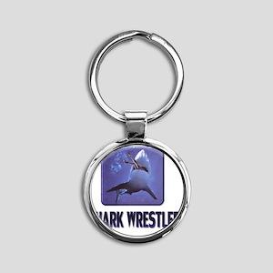 sharkwrestler01 Round Keychain