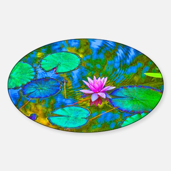 Lilypad Lotus Waterlily Bright Pink Sticker (Oval)