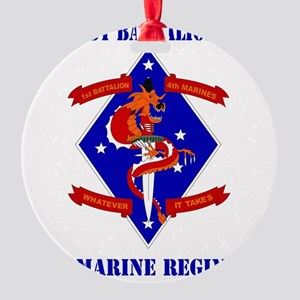 SSI-4TH MARINE RGT-1ST BN  WITH TEX Round Ornament