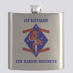 SSI-4TH MARINE RGT-1ST BN  WITH TEXT Flask