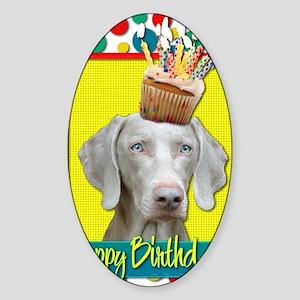BirthdayCupcakeWeimeraner Sticker (Oval)