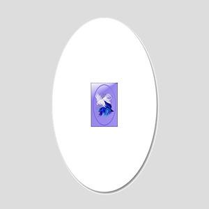 OvalJewelBlue n White Siames 20x12 Oval Wall Decal