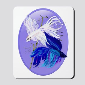 Blue n White Siamese Fighting Fish Oval  Mousepad