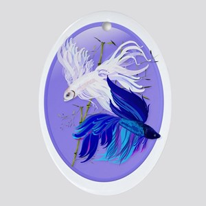 Blue n White Siamese Fighting Fish O Oval Ornament