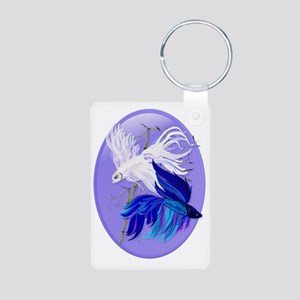 Blue n White Siamese Fight Aluminum Photo Keychain