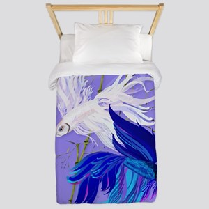 Blue n White Siamese Fighting Fish Oval Twin Duvet
