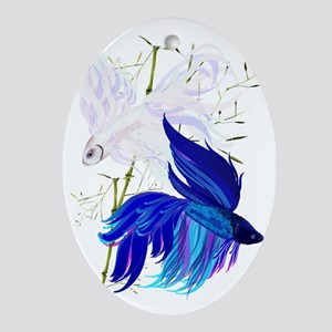 Blue and White Siamese Fighting Fish Oval Ornament