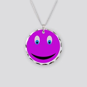Purple-Smiley-Face Necklace Circle Charm