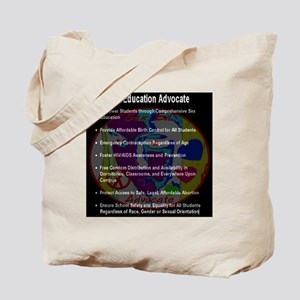 sex_ed_advocate_7goals_backprint_inverted Tote Bag