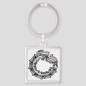 aztec-ouroboros-serpent-circle Square Keychain