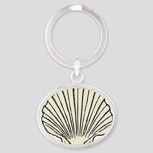 scallop_shell Oval Keychain