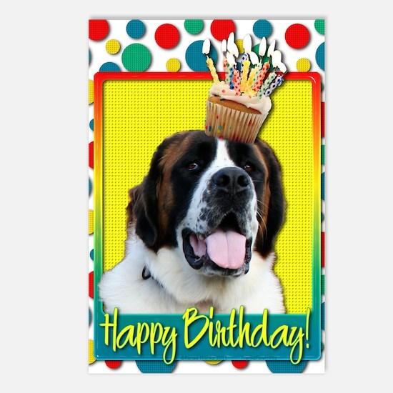 BirthdayCupcakeStBernardM Postcards (Package of 8)