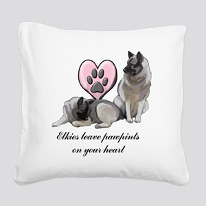 elkie pawprints Square Canvas Pillow