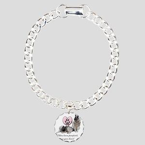 elkie pawprints Charm Bracelet, One Charm