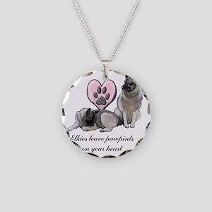 elkie pawprints Necklace Circle Charm